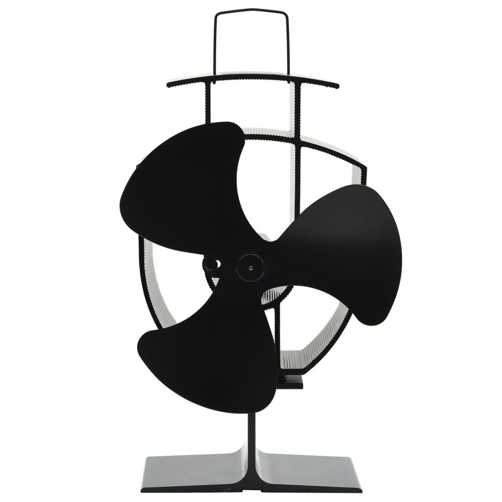 vidaXL Teplom poháňaný ventilátor na krb s 3 lopatkami čierny
