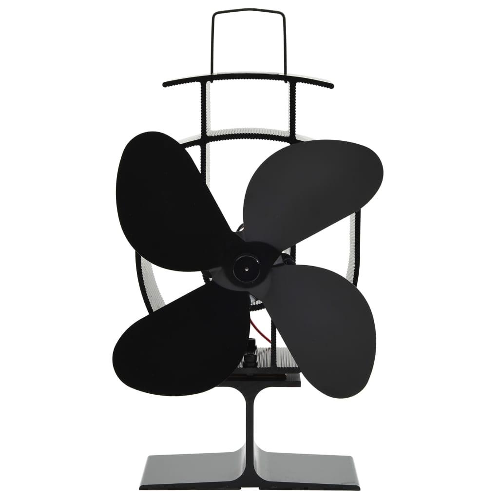 vidaXL Teplom poháňaný ventilátor na krb so 4 lopatkami čierny