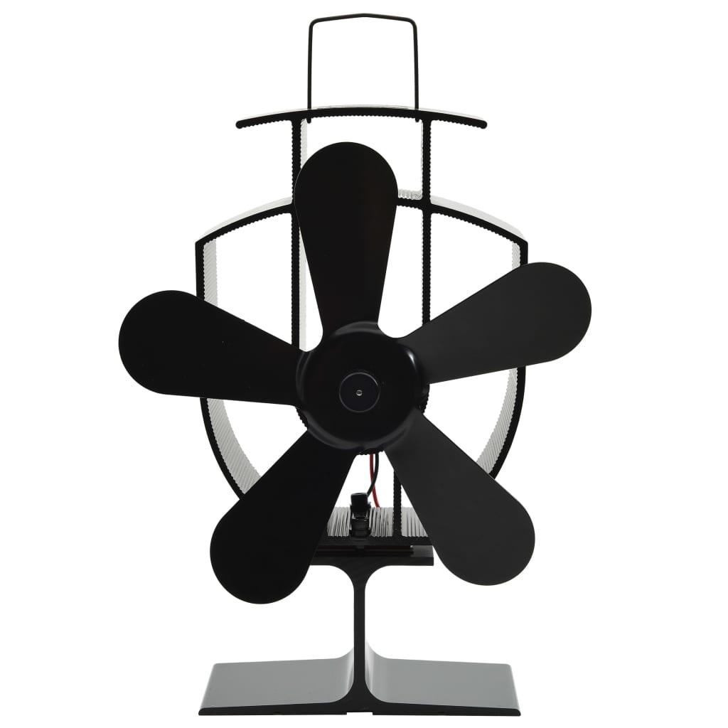 vidaXL Teplom poháňaný ventilátor na krb s 5 lopatkami čierny