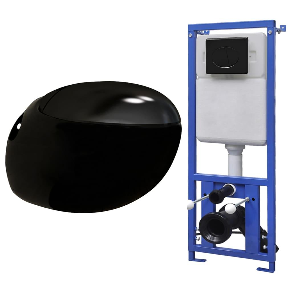 vidaXL Závesné WC v tvare vajca s podomietkovou nádržou čierne