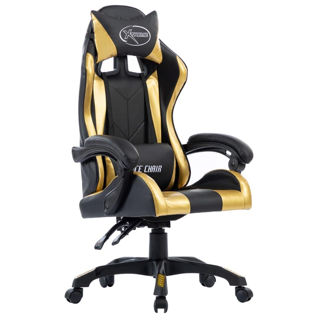 vidaXL Herná stolička, zlatá, umelá koža