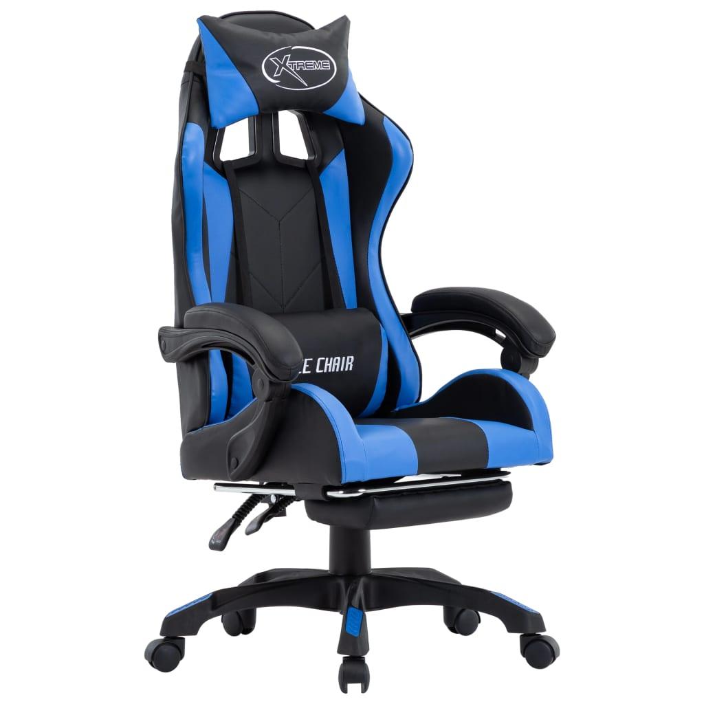 vidaXL Herná stolička s opierkou na nohy, modro čierna, umelá koža