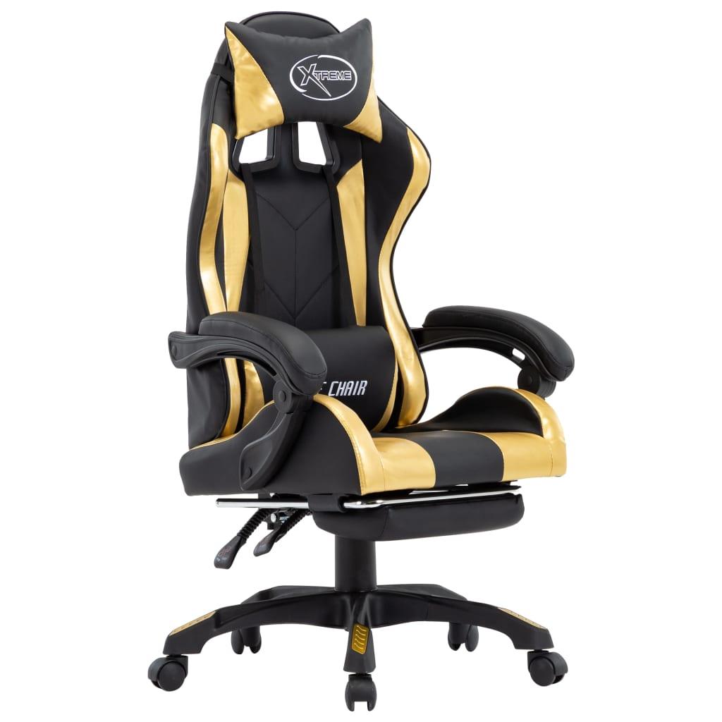 vidaXL Herná stolička s opierkou na nohy, zlato čierna, umelá koža