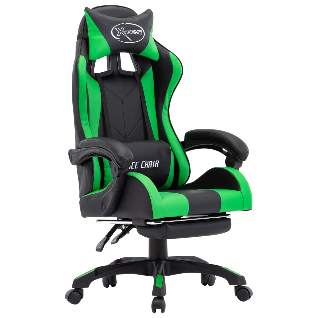 vidaXL Herná stolička s opierkou na nohy, zeleno čierna, umelá koža