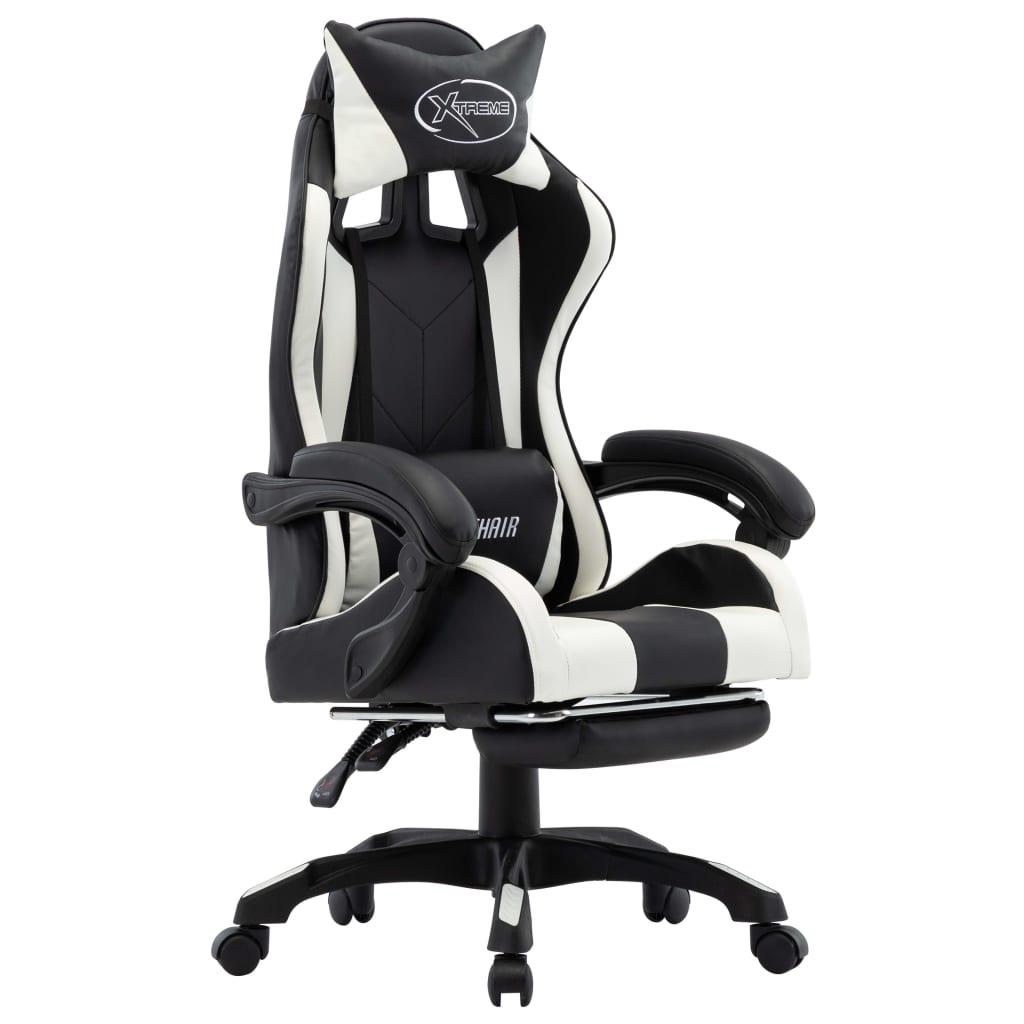 vidaXL Herná stolička s opierkou na nohy, bielo čierna, umelá koža