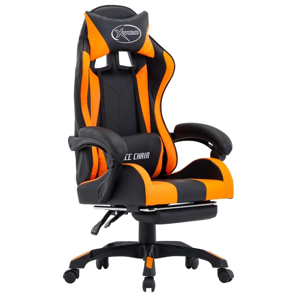 vidaXL Herná stolička s opierkou na nohy, oranžovo čierna, umelá koža
