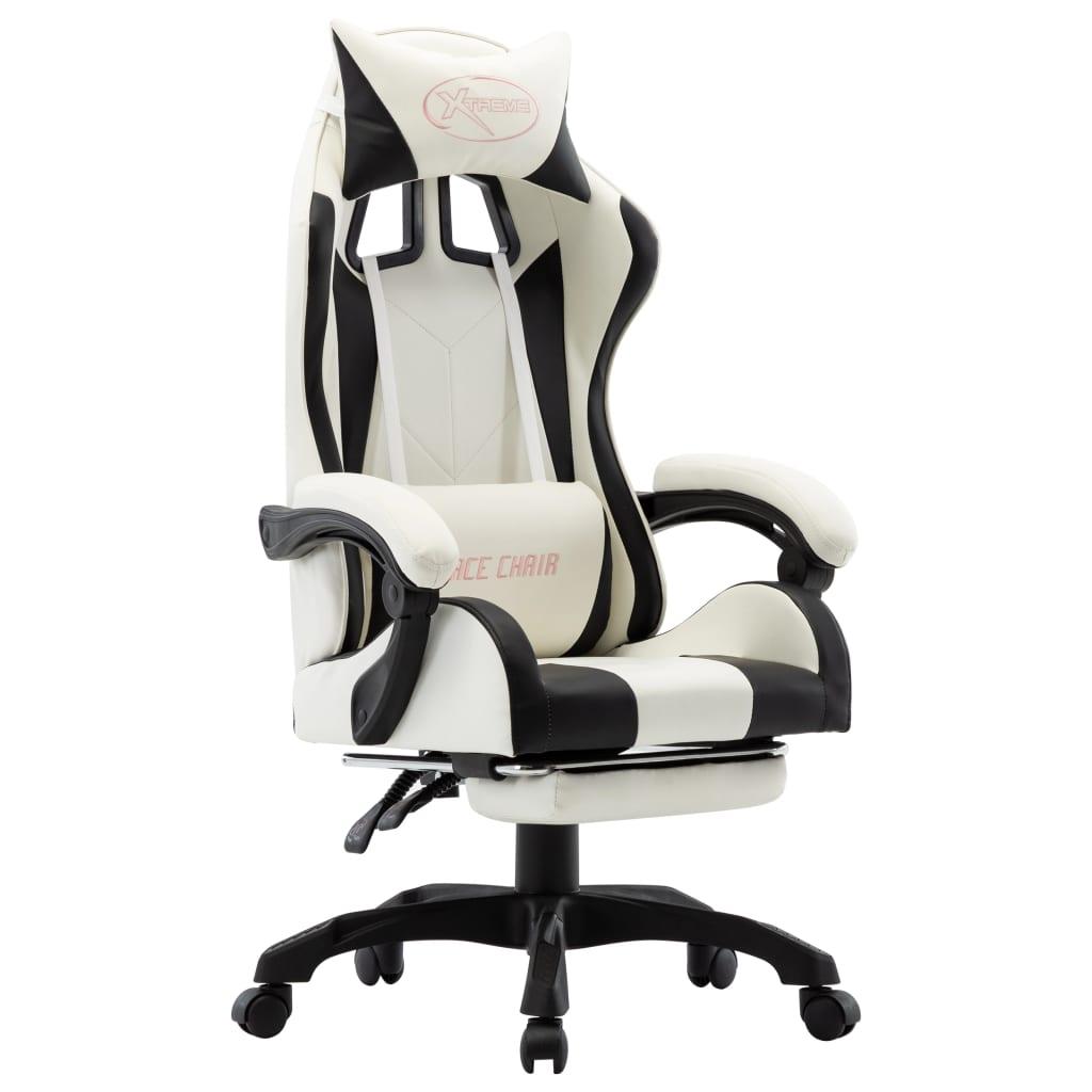 vidaXL Herná stolička s opierkou na nohy, čierno biela, umelá koža