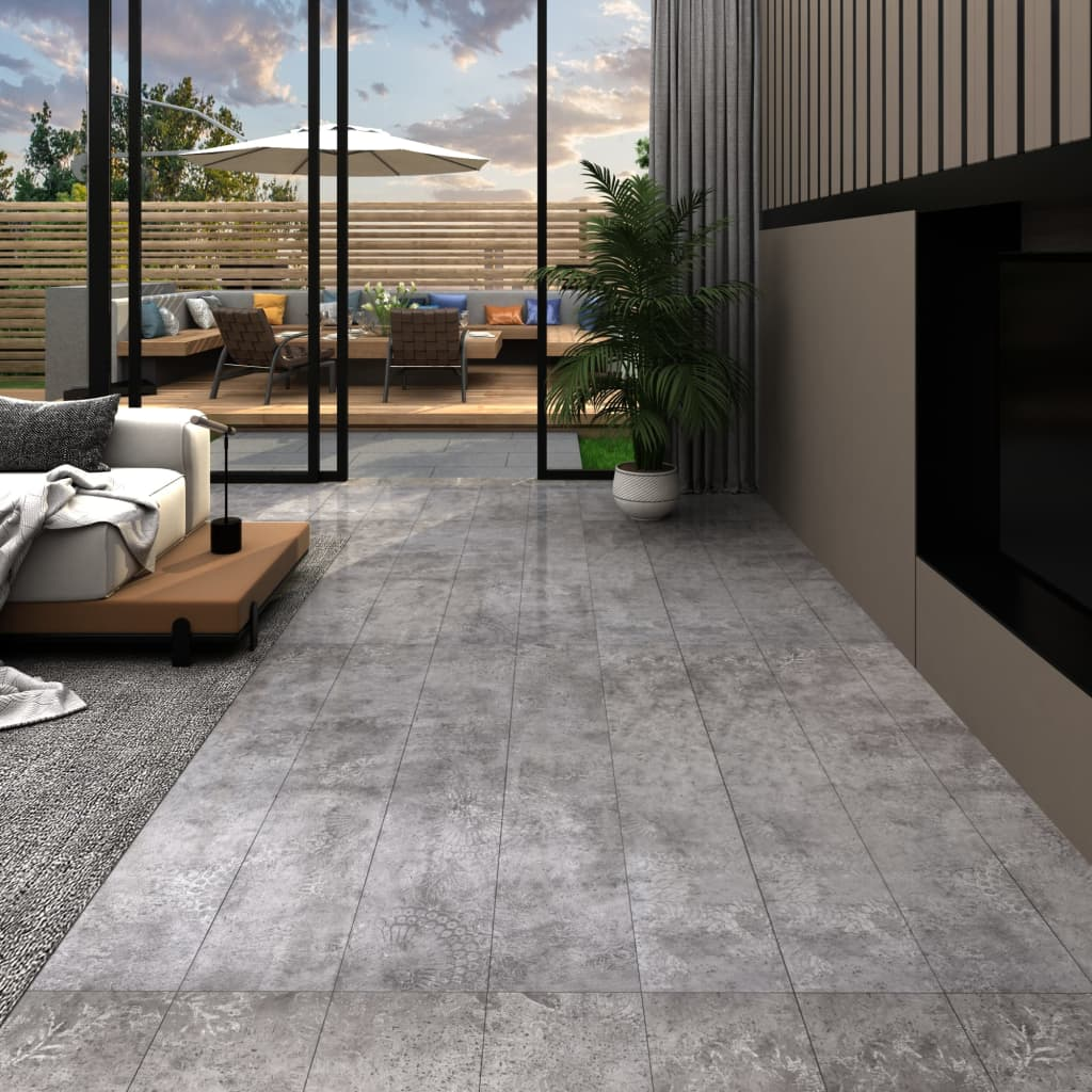 vidaXL Podlahové dosky z PVC 5,26 m² 2 mm, betónovo sivé