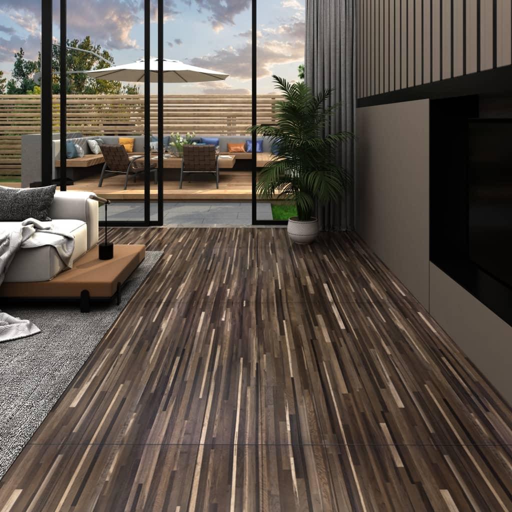 vidaXL Podlahové dosky z PVC 5,26 m² 2 mm, pruhované hnedé