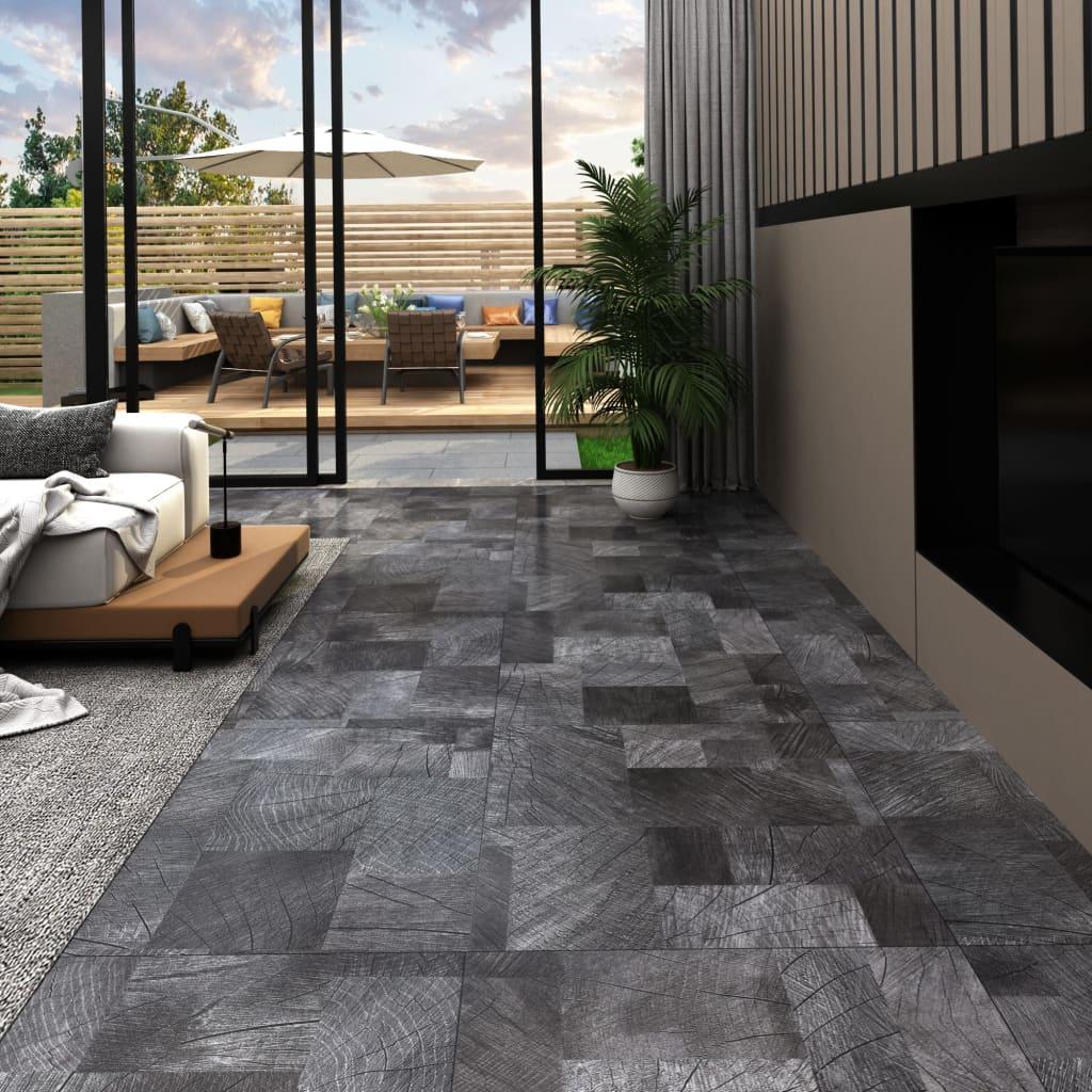 vidaXL Podlahová doska z PVC,samolepiaca 5,11m², štruktúra dreva, sivá