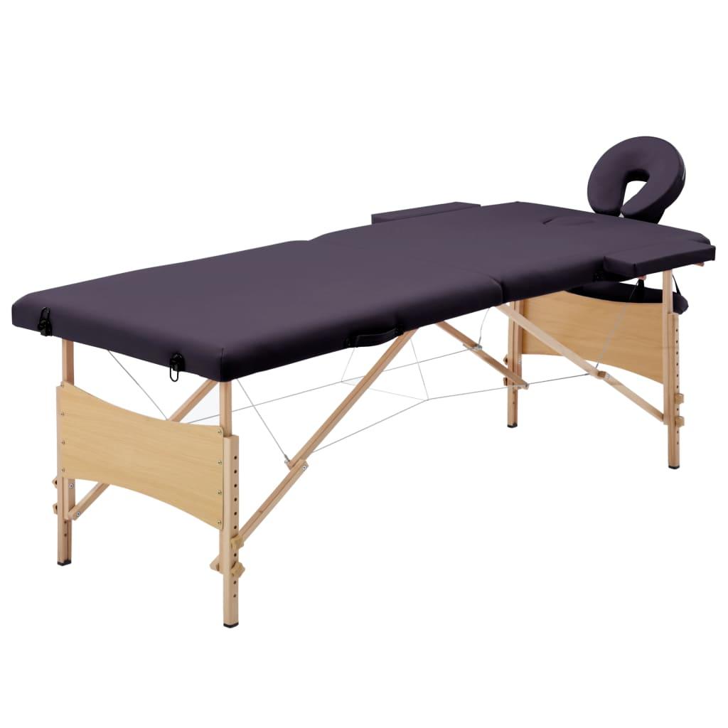 vidaXL Skladací masážny stôl, 2 zóny, drevo, fialový