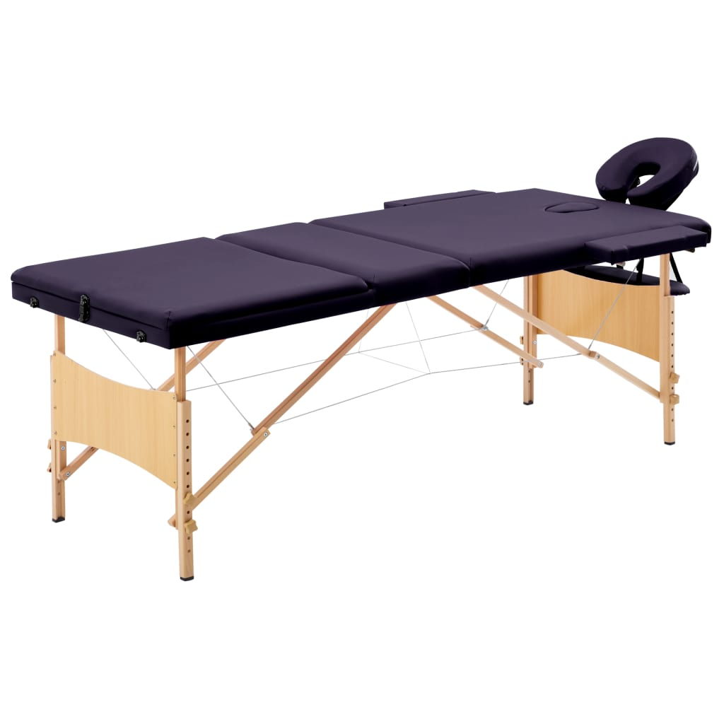 vidaXL Skladací masážny stôl, 3 zóny, drevo, fialový