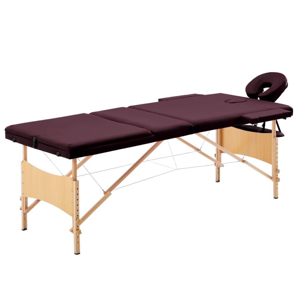 vidaXL Skladací masážny stôl, 3 zóny, drevo, vínovo fialový