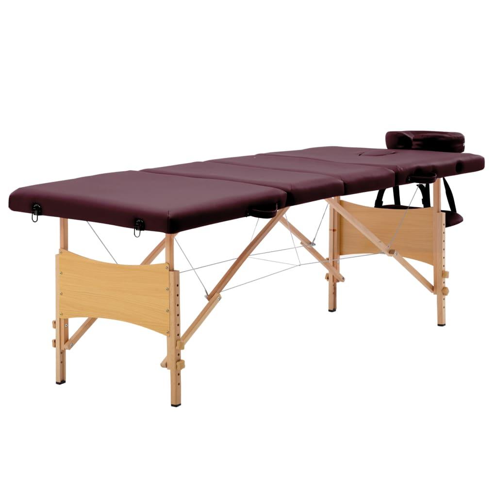 vidaXL Skladací masážny stôl 4 zónový drevený vínovo-fialový
