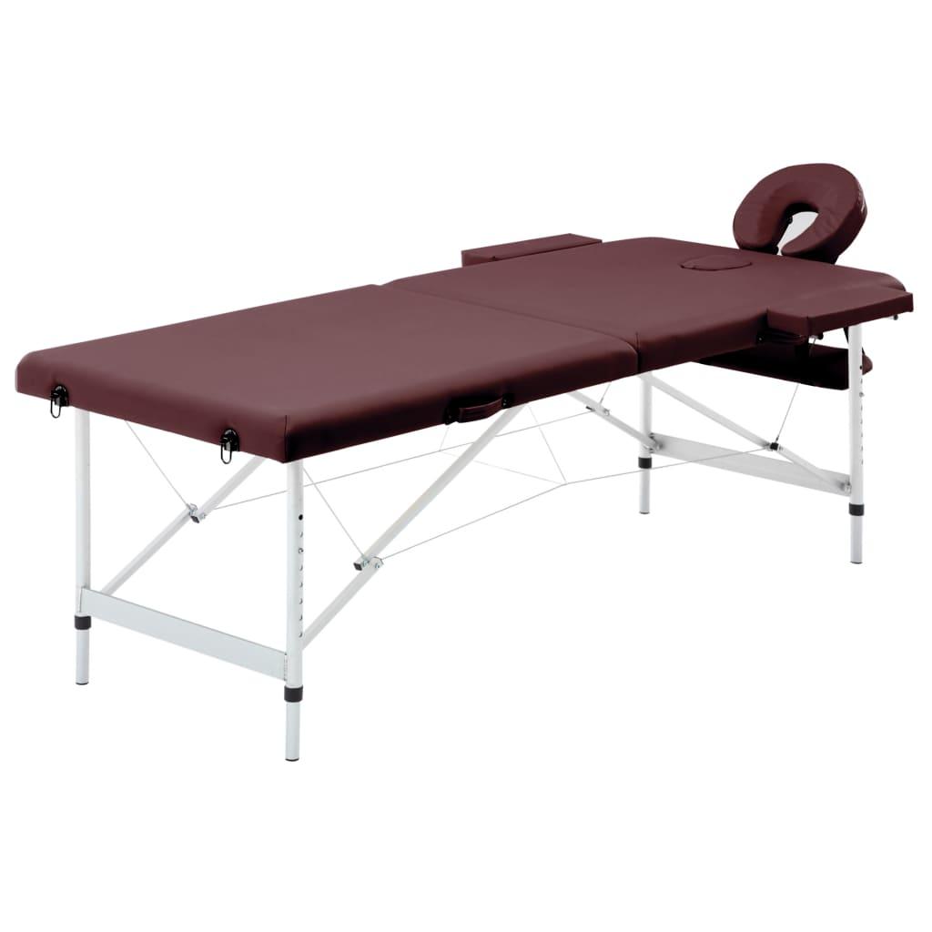 vidaXL Skladací masážny stôl 2-zónový vínovo-fialový hliníkový