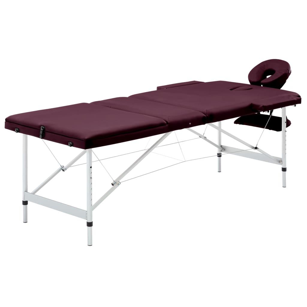 vidaXL Skladací masážny stôl, 3 zóny, hliník, vínovo fialový