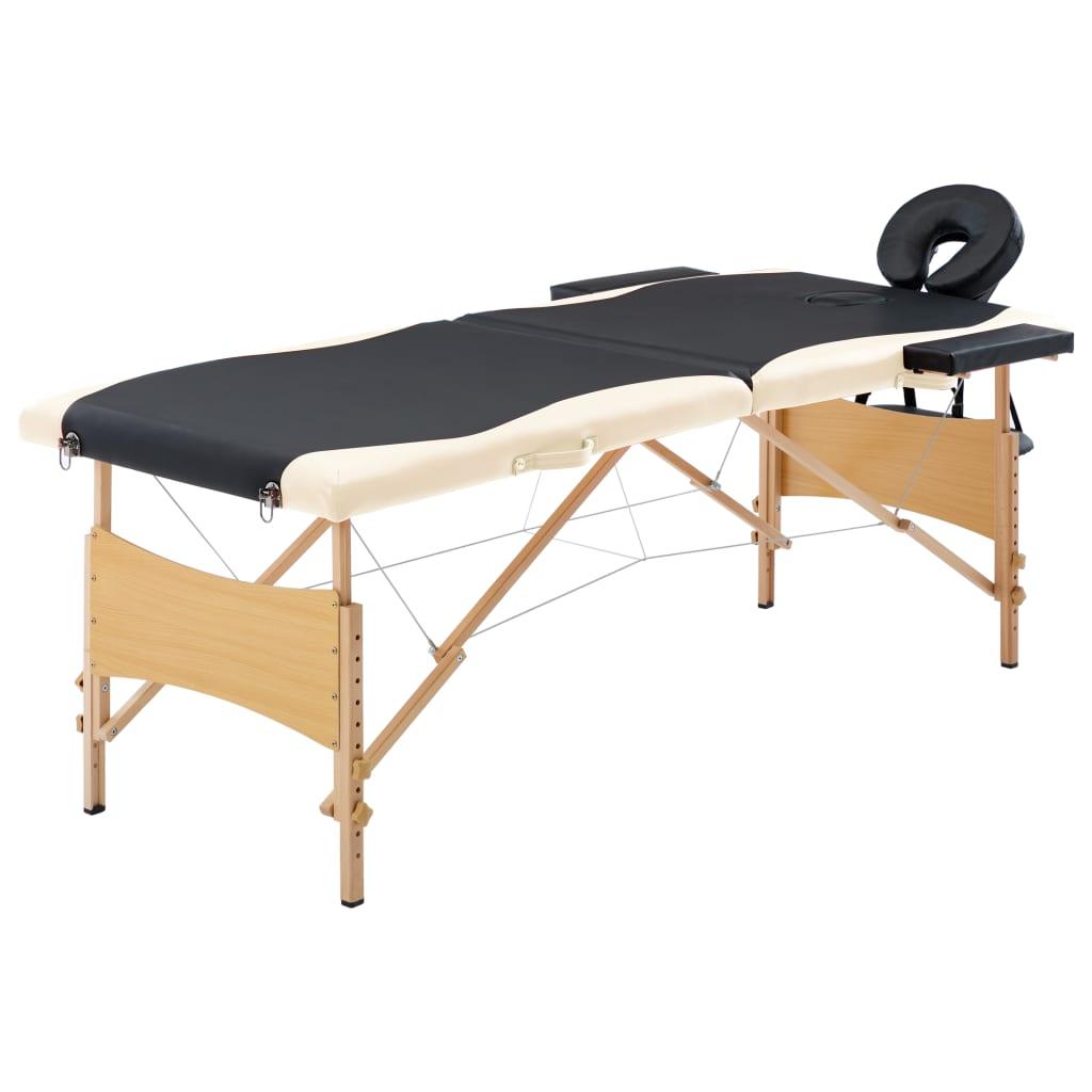 vidaXL Skladací masážny stôl, 2 zóny, drevo, čierno béžový