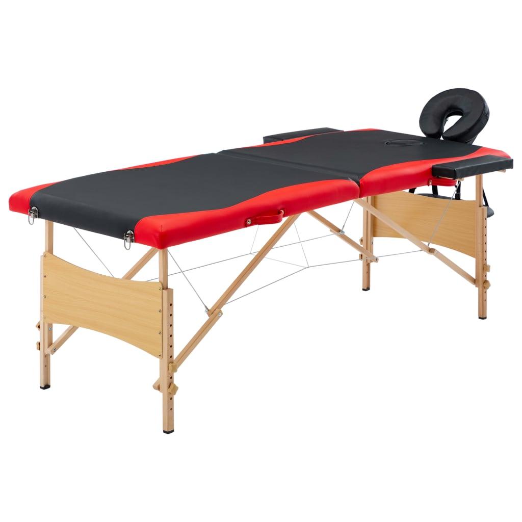 vidaXL Skladací masážny stôl, 2 zóny, drevo, čierno červený