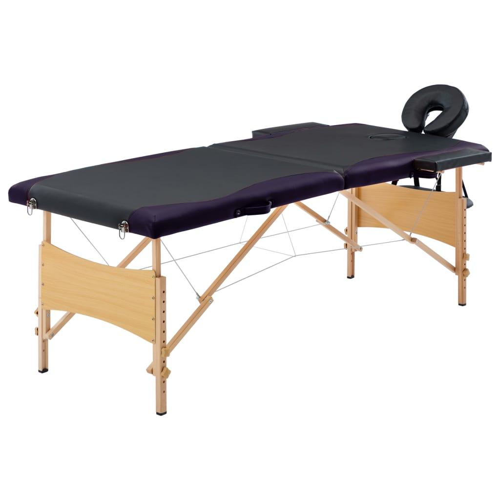 vidaXL Skladací masážny stôl, 2 zóny, drevo, čierny