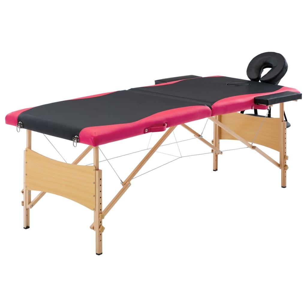vidaXL Skladací masážny stôl, 2 zóny, drevo, čierno ružový