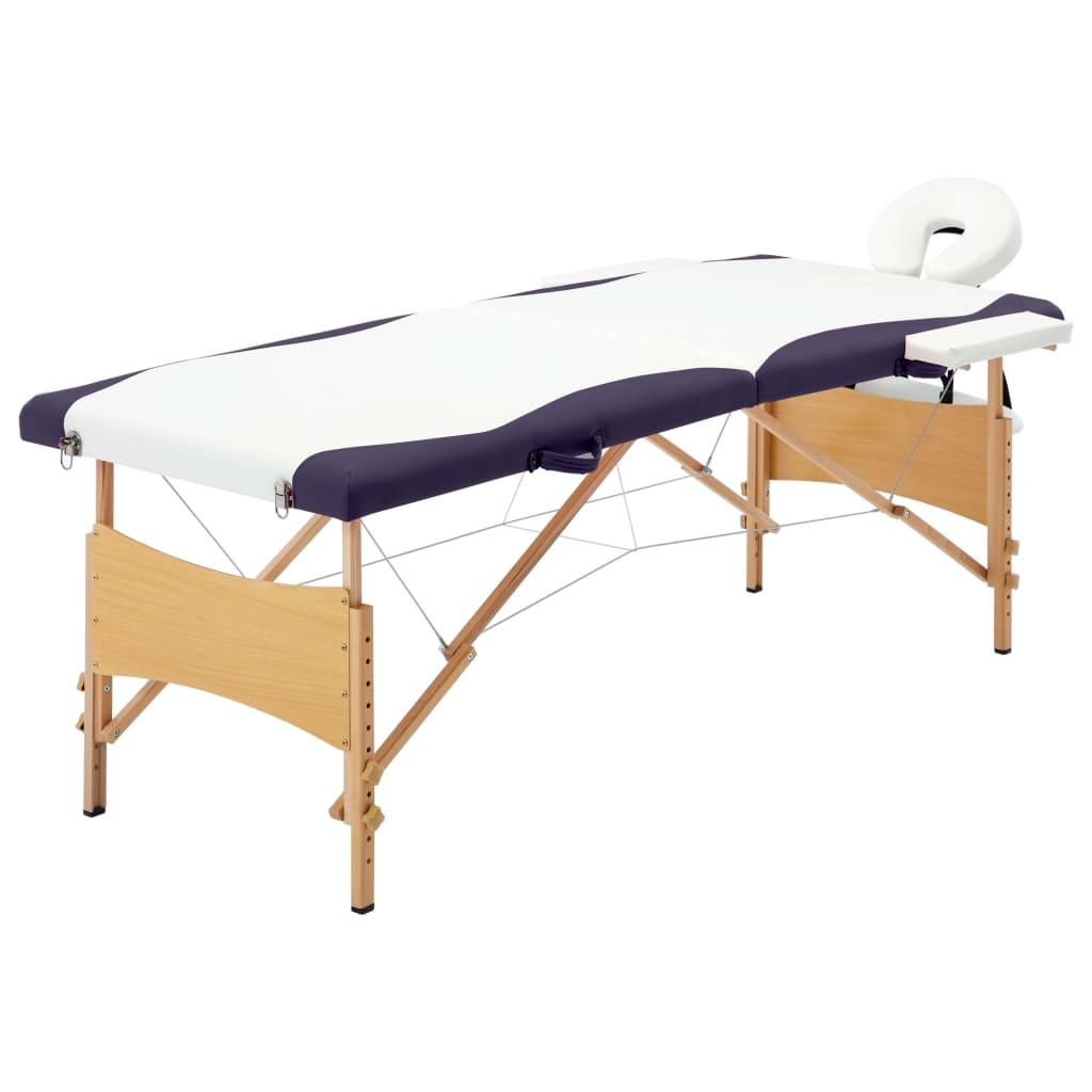 vidaXL Skladací masážny stôl, 2 zóny, drevo, bielo fialový