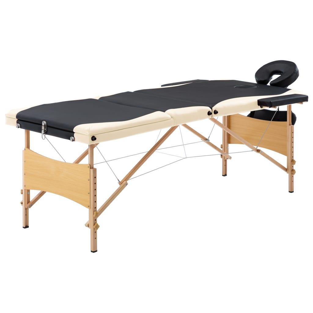 vidaXL Skladací masážny stôl, 3 zóny, drevo, čierno béžový