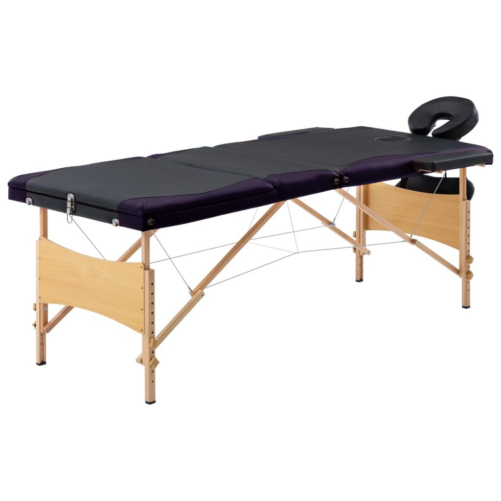 vidaXL Skladací masážny stôl, 3 zóny, drevo, čierno fialový
