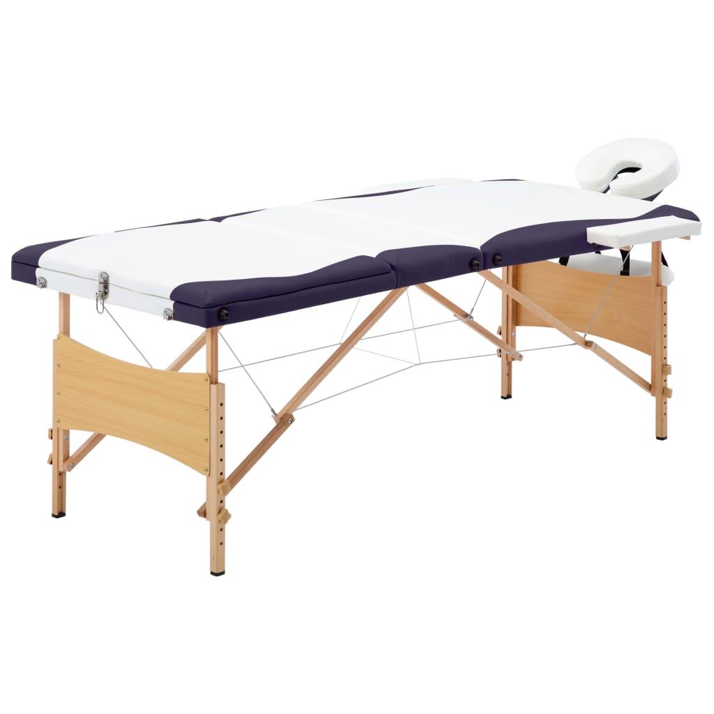 vidaXL Skladací masážny stôl, 3 zóny, drevo, bielo fialový