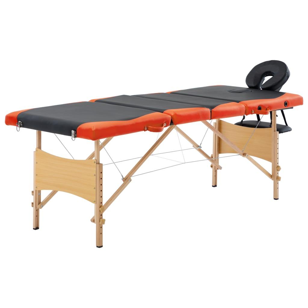 vidaXL Skladací masážny stôl 4 zónový drevený čierny a oranžový
