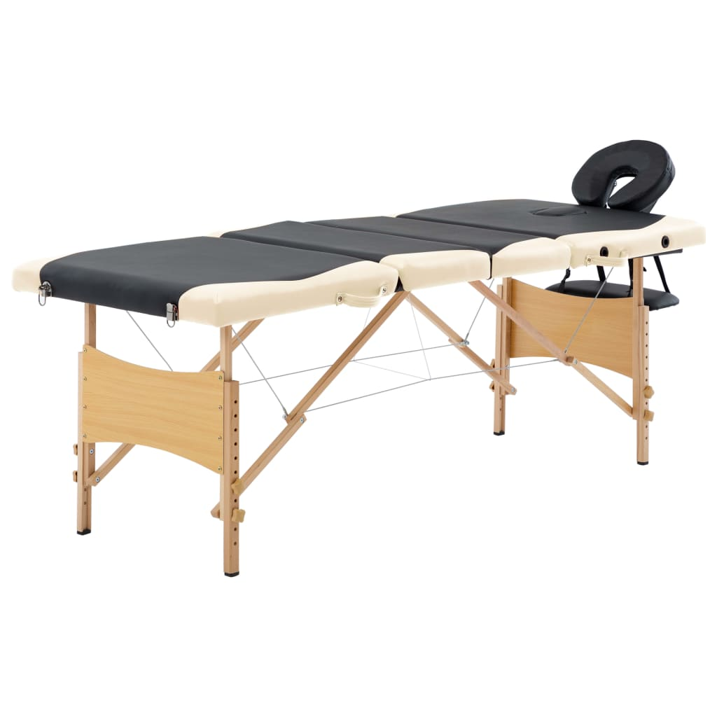 vidaXL Skladací masážny stôl 4 zónový drevený čierny a béžový