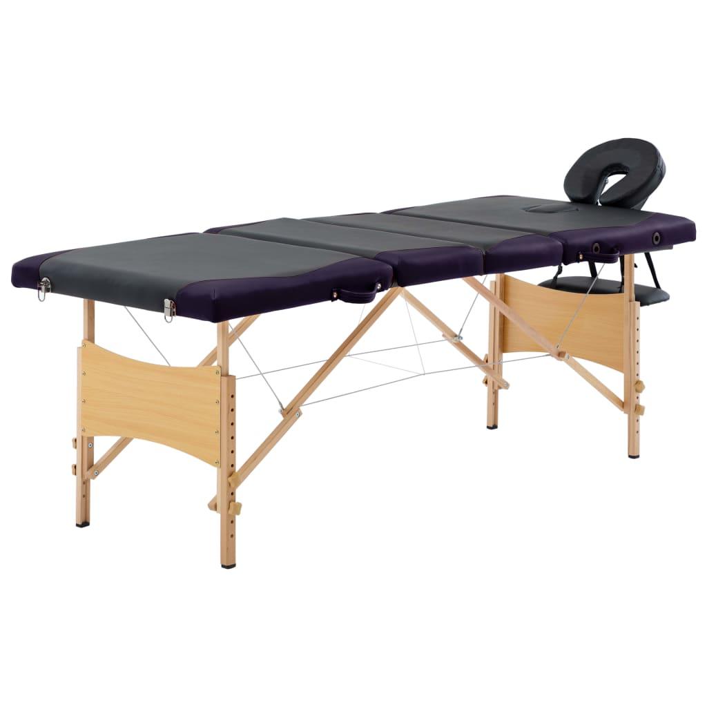 vidaXL Skladací masážny stôl 4 zónový drevený čierny a fialový