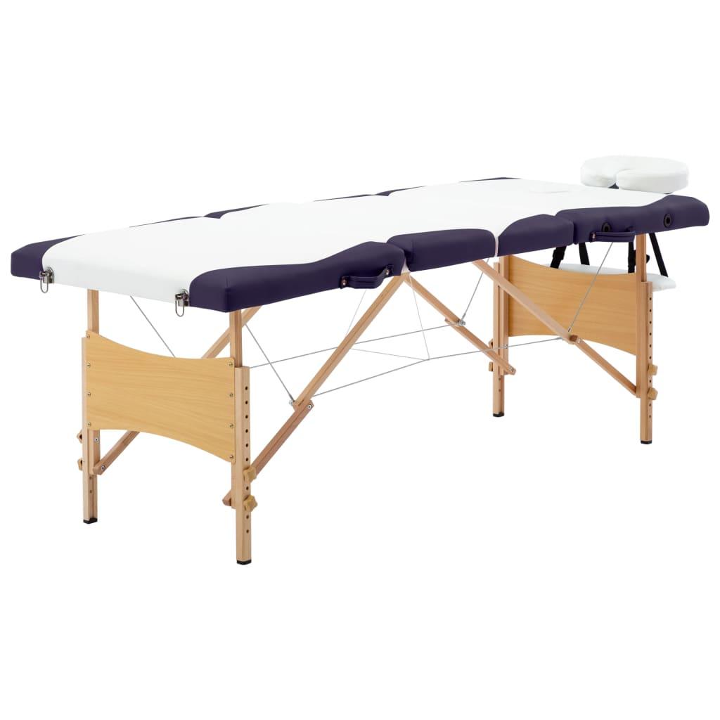 vidaXL Skladací masážny stôl 4 zónový drevený biely a fialový