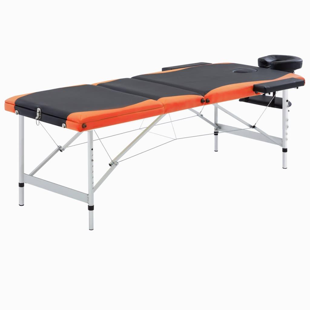 vidaXL Skladací masážny stôl s 3 zónami, hliník, čierno oranžový