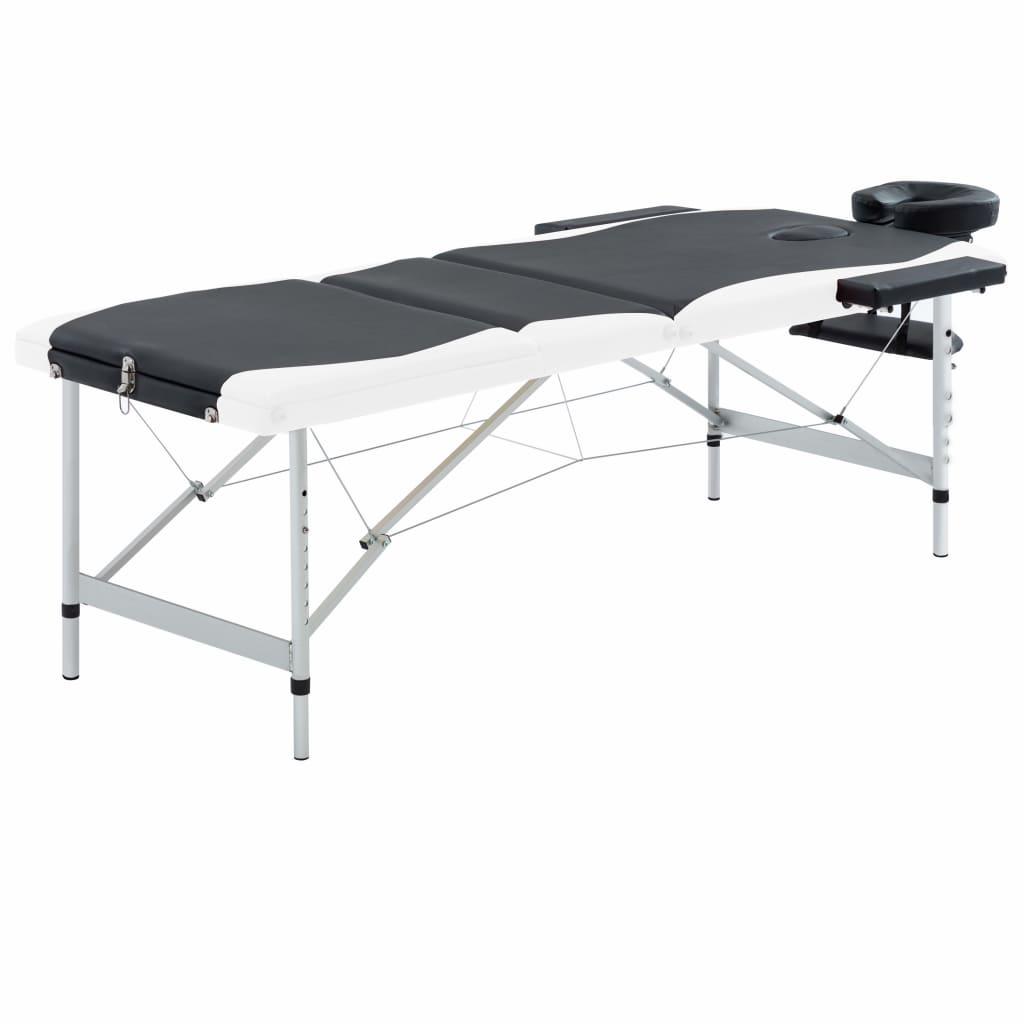 vidaXL Skladací masážny stôl s 3 zónami, hliník, čierno biely