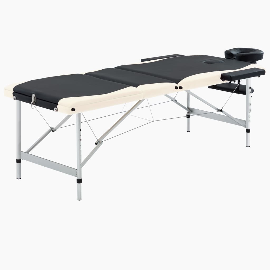 vidaXL Skladací masážny stôl s 3 zónami, hliník, čierno béžový