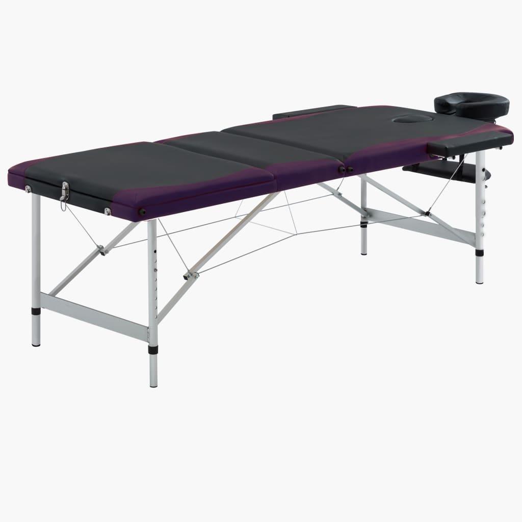 vidaXL Skladací masážny stôl s 3 zónami, hliník, čierno fialový