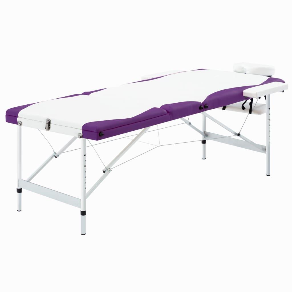 vidaXL Skladací masážny stôl s 3 zónami, hliník, bielo fialový