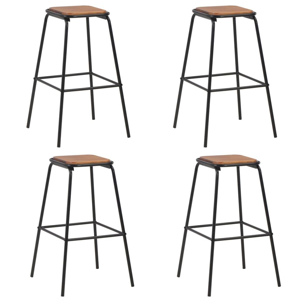 vidaXL Barové stoličky 4 ks čierne borovicový masív a oceľ