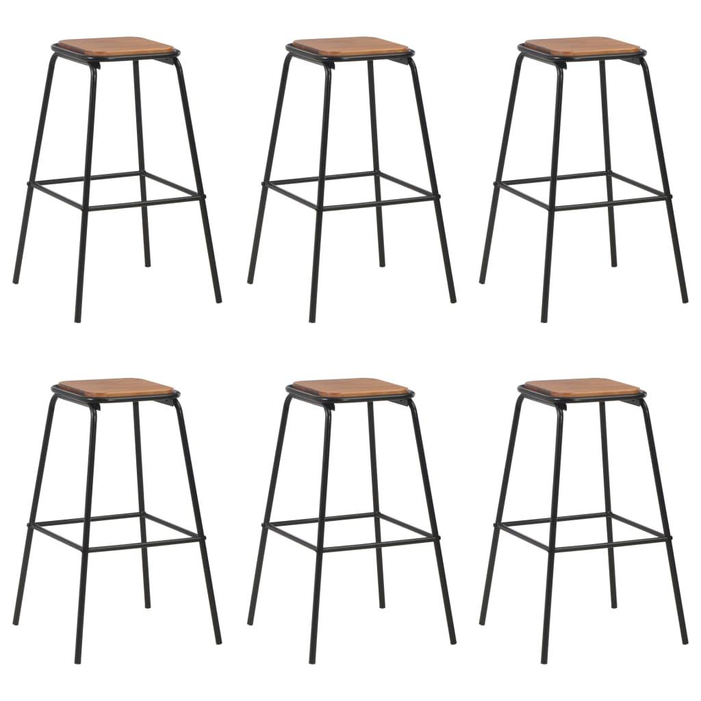 vidaXL Barové stoličky 6 ks čierne borovicový masív a oceľ