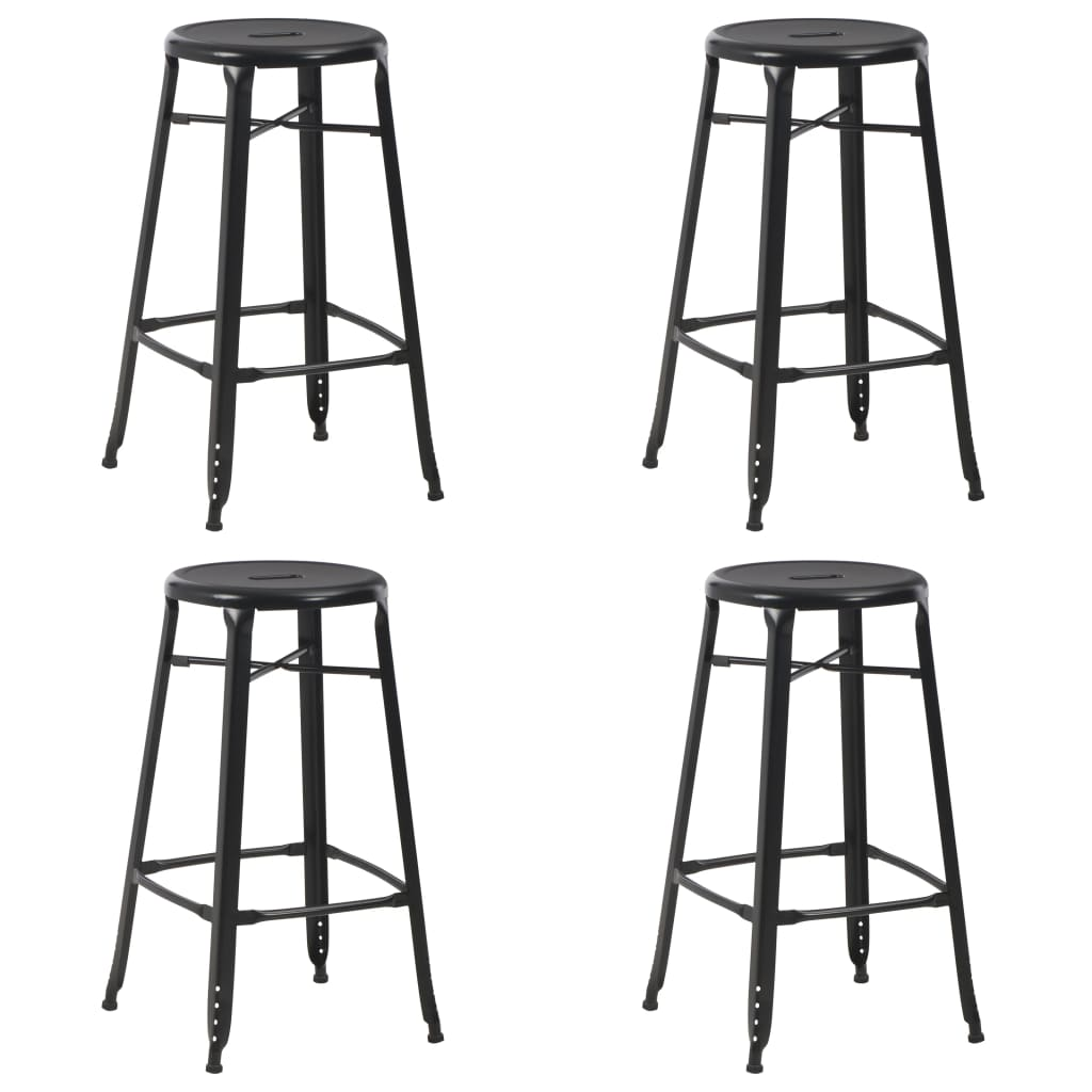 vidaXL Barové stoličky 4 ks čierne oceľové