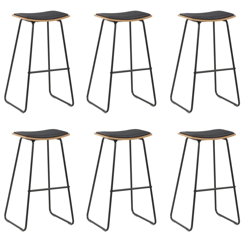 vidaXL Barové stoličky 6 ks čierne umelá koža