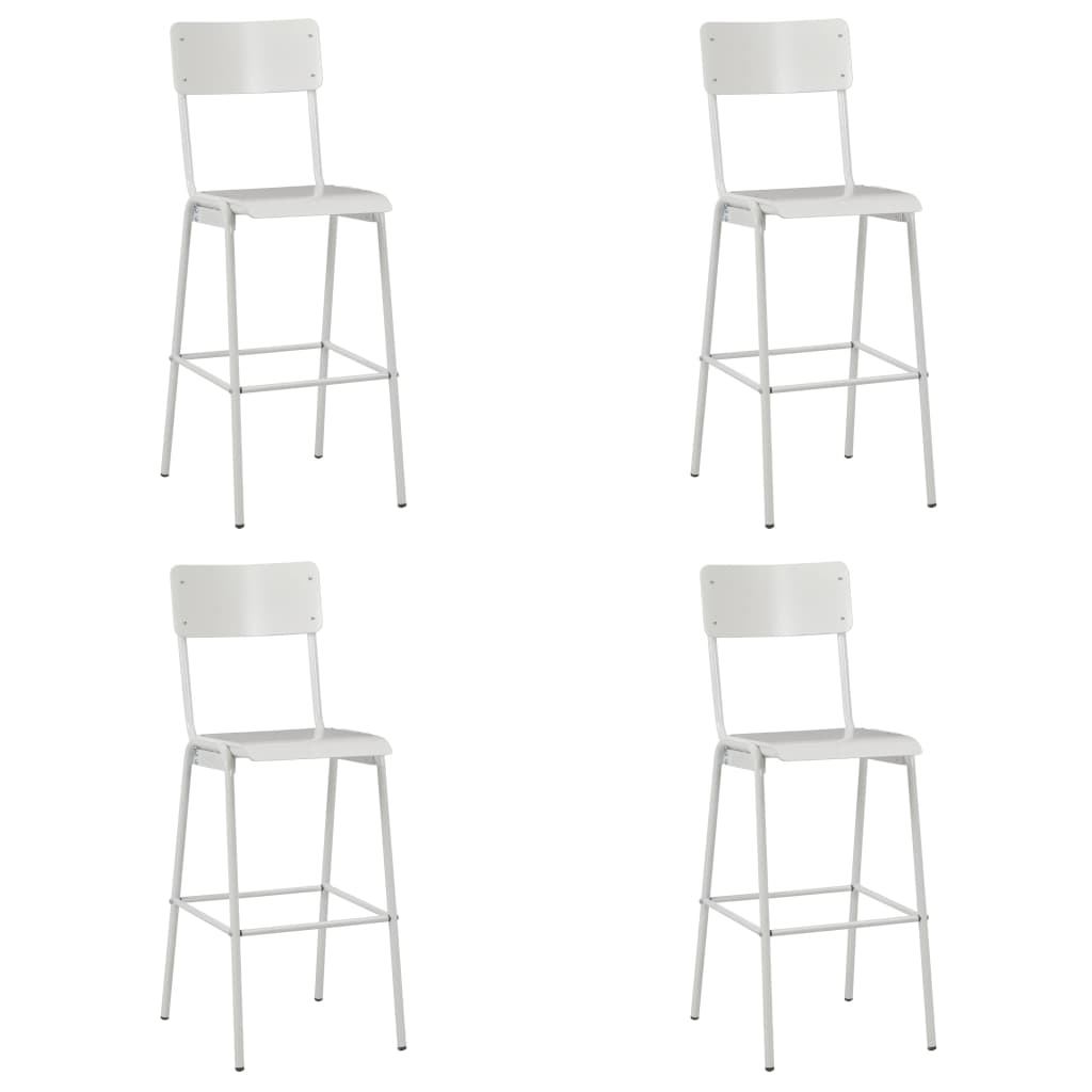 vidaXL Barové stoličky 6 ks biele preglejka a oceľ
