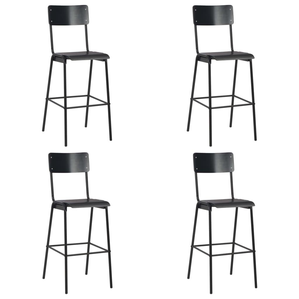 vidaXL Barové stoličky 4 ks čierne preglejka a oceľ