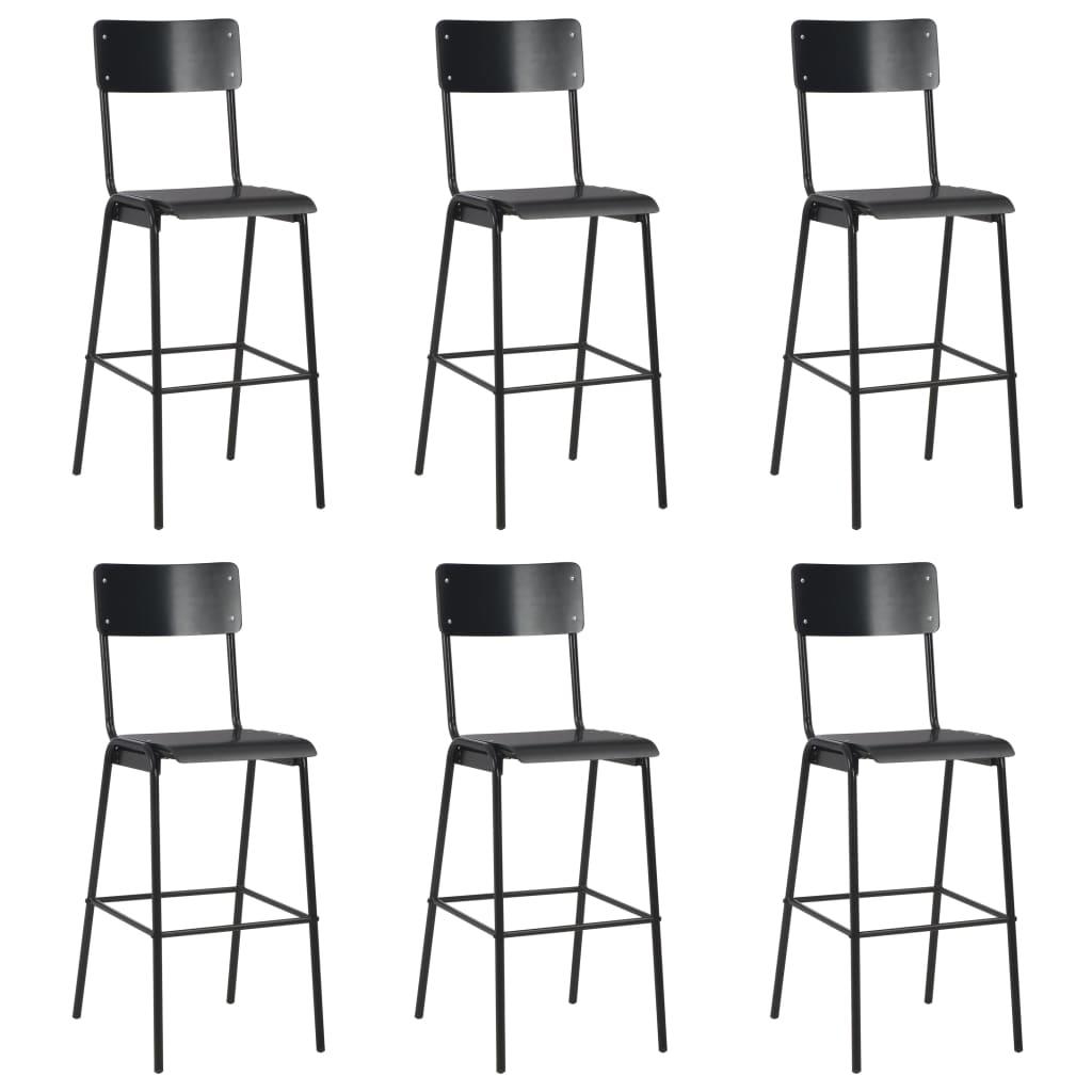 vidaXL Barové stoličky 6 ks čierne preglejka a oceľ