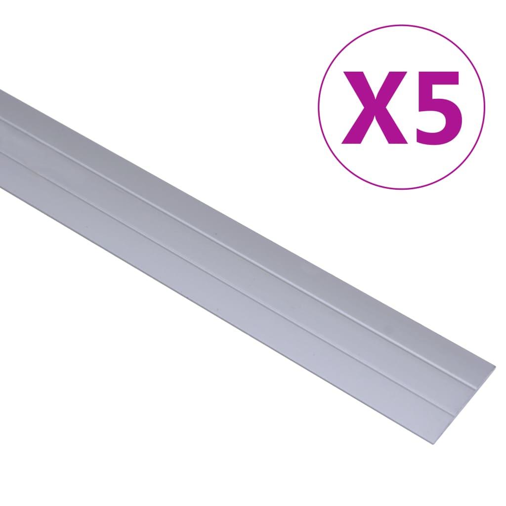 vidaXL Podlahové profily 5 ks, hliník 90 cm, strieborné