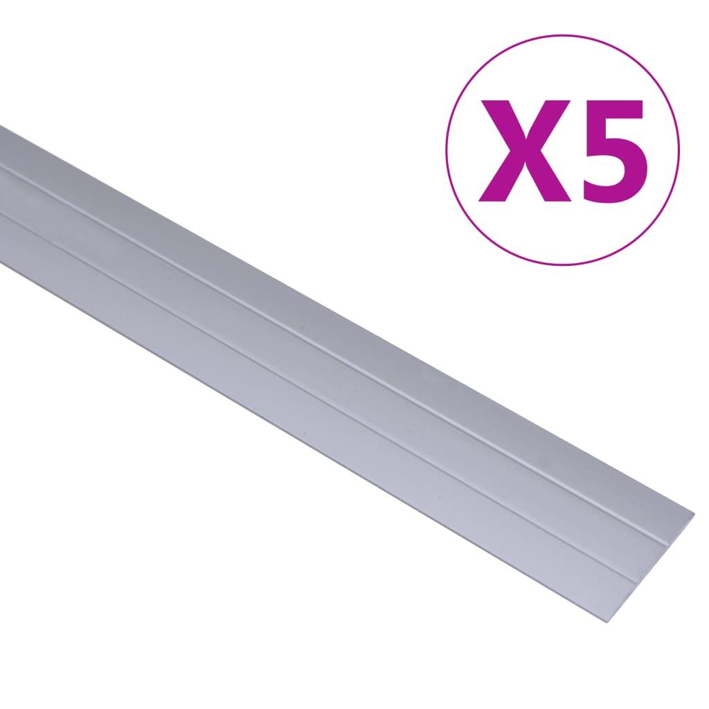 vidaXL Podlahové profily 5 ks, hliník 134 cm, strieborné