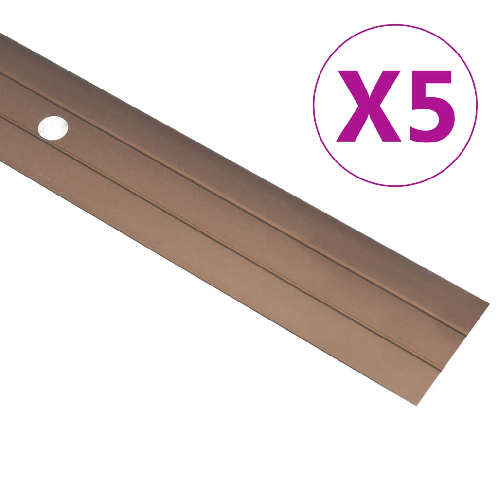 vidaXL Podlahové profily 5 ks, hliník 90 cm, hnedé