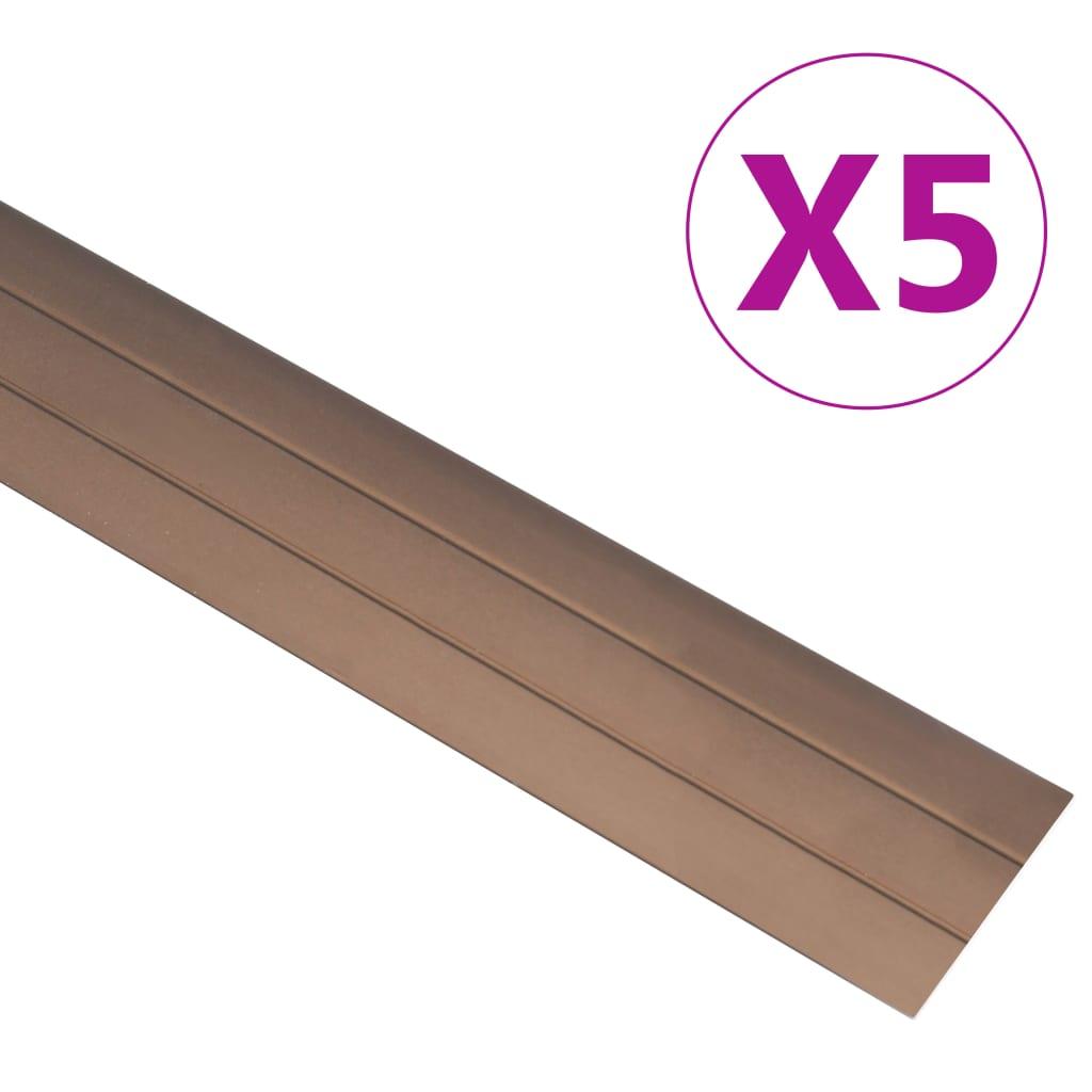 vidaXL Podlahové profily 5 ks, hliník 134 cm, hnedé