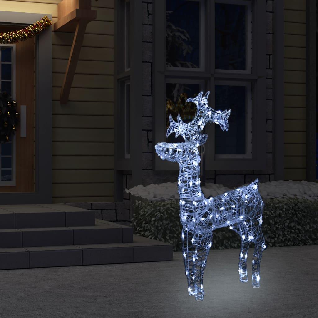 vidaXL Vianočná dekorácia so sobom 90 LED 60x16x100 cm akryl