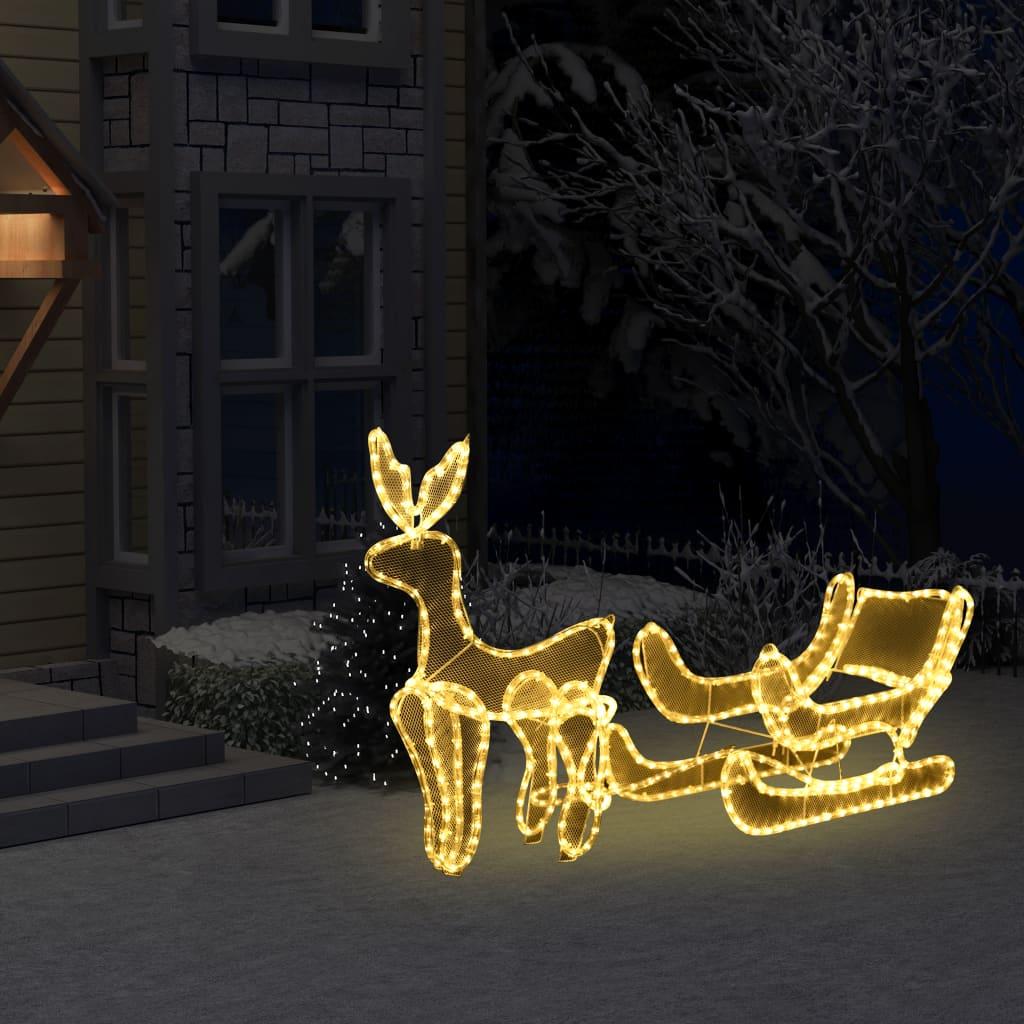 vidaXL Vianočná svetelná dekorácia, sob a sane so sieťkou, 216 LED
